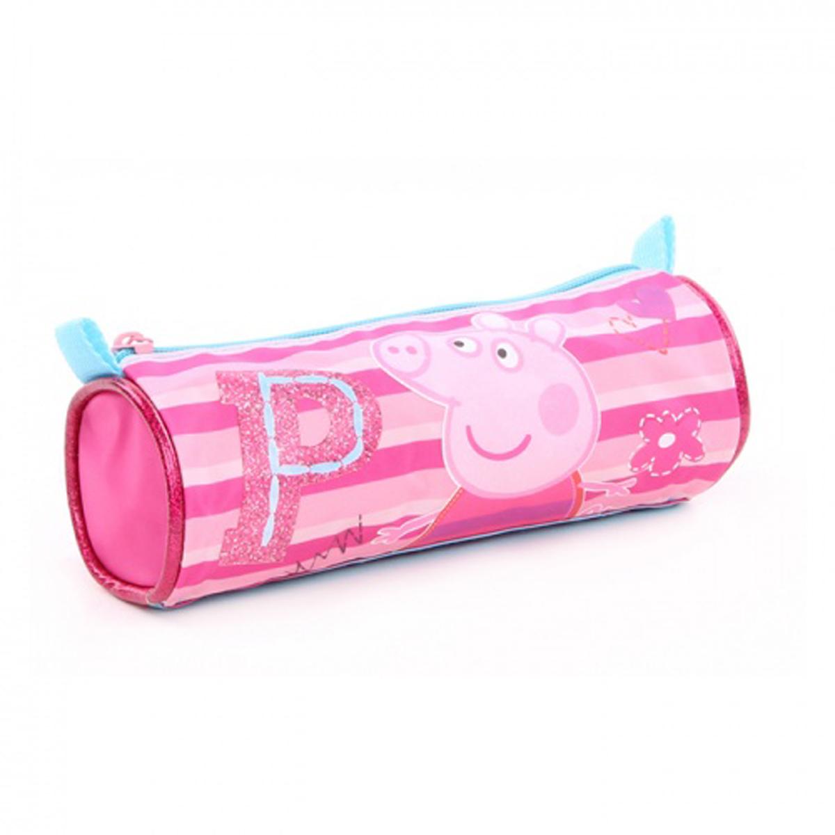 Trousse tube \'Peppa Pig\' rose - 20x7 cm - [Q3469]