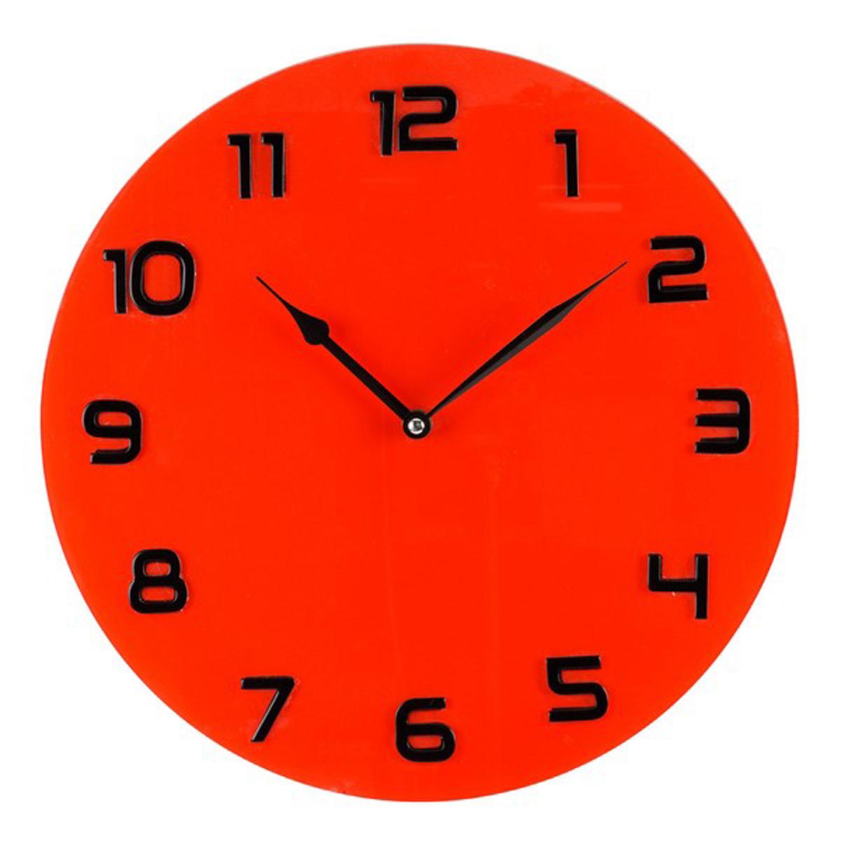Horloge Murale verre \'Design\' rouge noir - 35 cm - [Q6479]