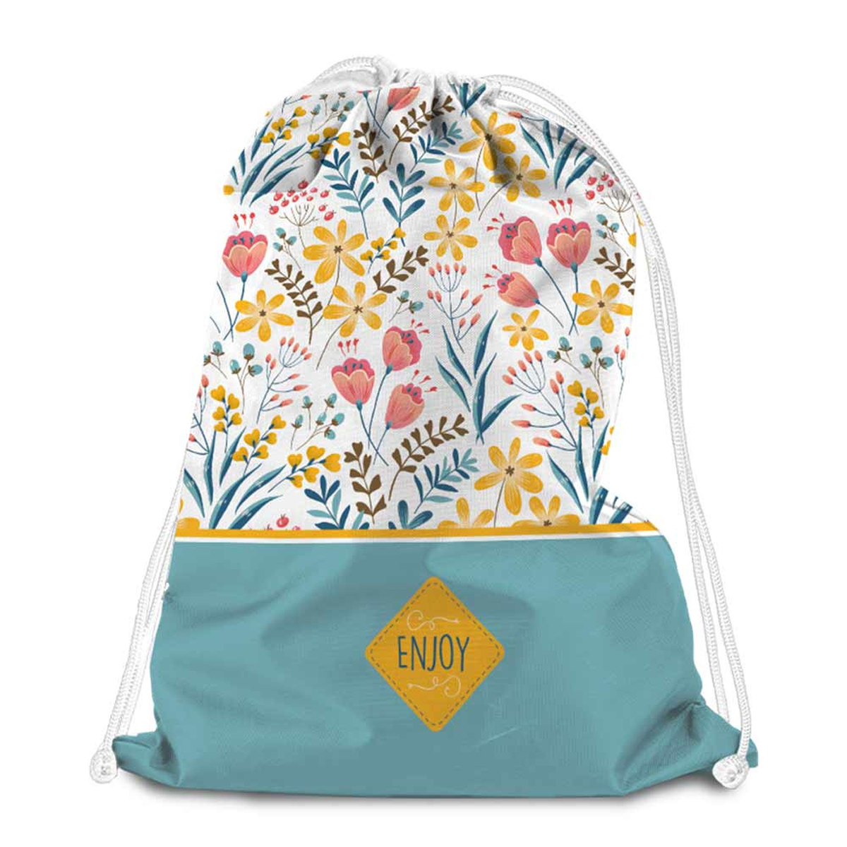 Sac de détente \'Liberty\' turquoise jaune multicolore (Enjoy) - 38x34 cm - [Q8009]