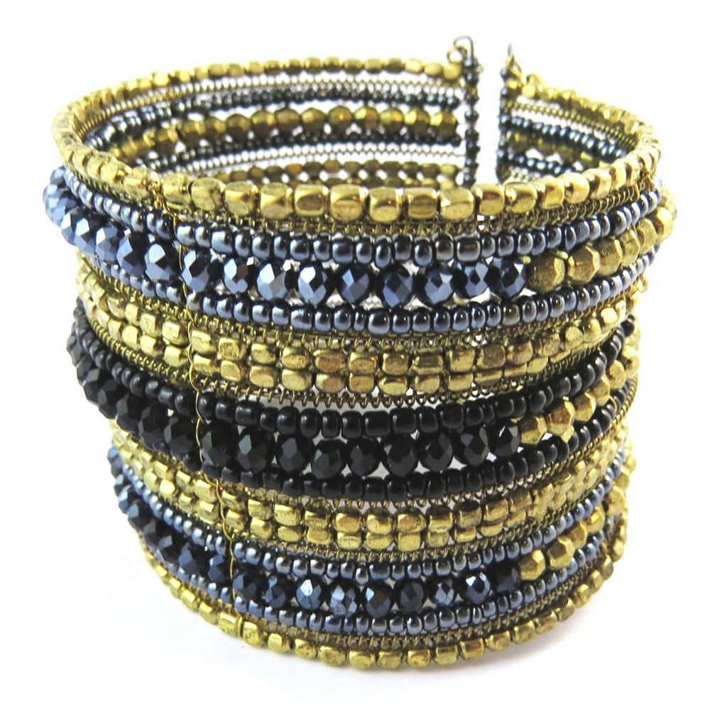 Bracelet créateur \'Katmandou\' gris noir doré - [N8251]