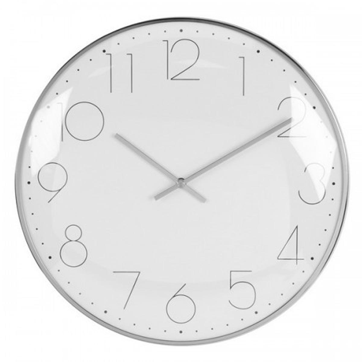 Horloge Murale \'Design\' argenté blanc - 30 cm - [Q6481]