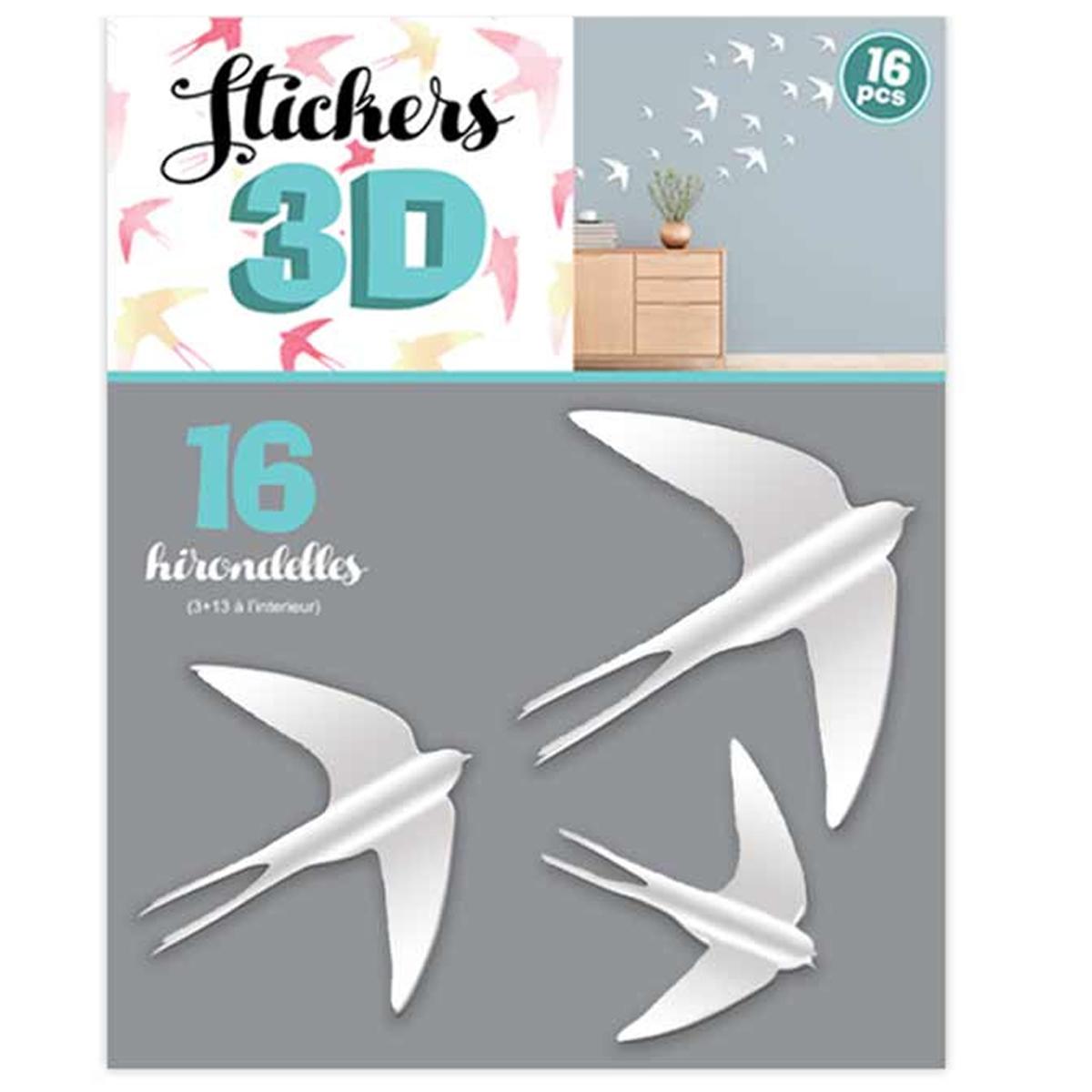 16 stickers 3D \'Hirondelles\' blanc - planche 30x22 cm - [Q8024]
