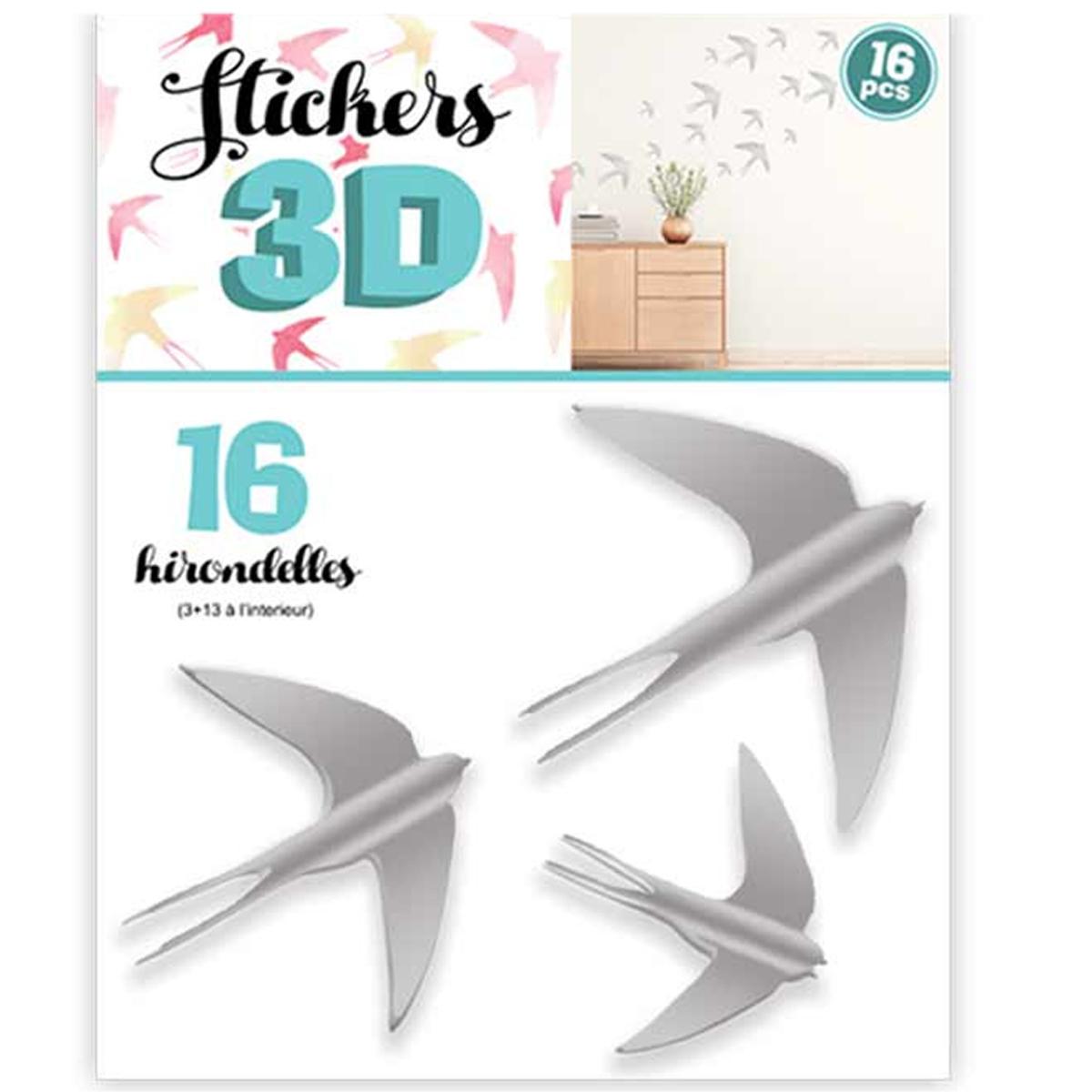 16 stickers 3D \'Hirondelles\' gris - planche 30x22 cm - [Q8025]