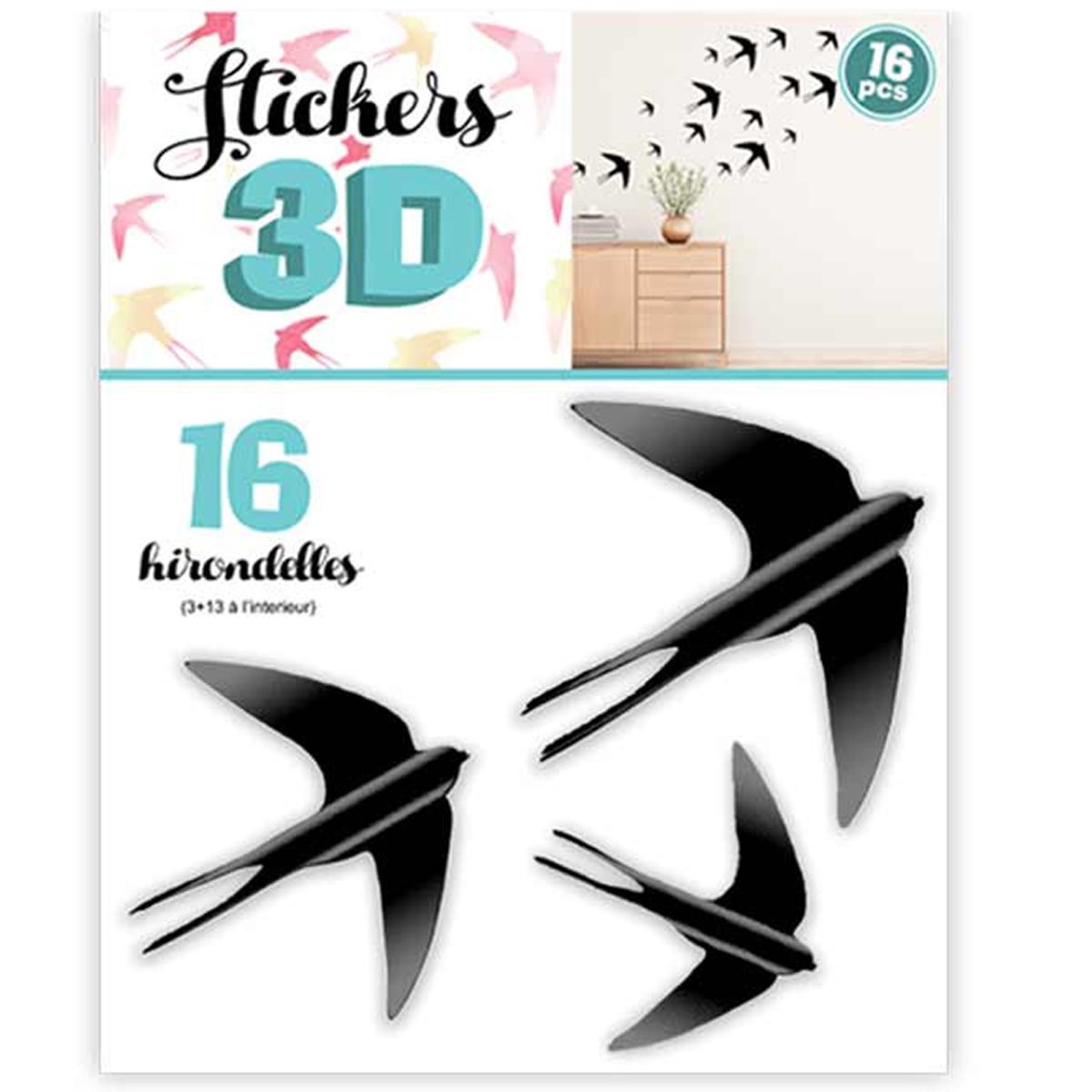 16 stickers 3D \'Hirondelles\' noir - planche 30x22 cm - [Q8026]