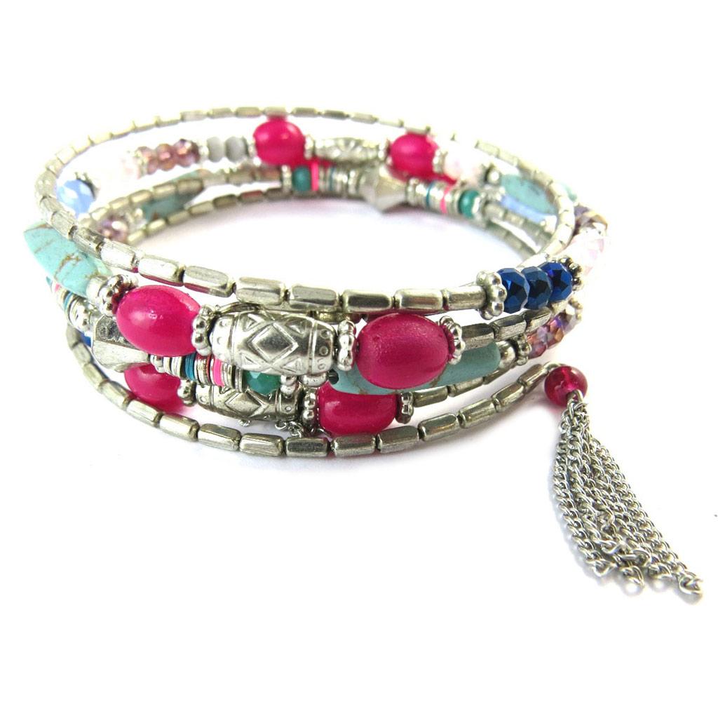 Bracelet créateur \'Navajos\' rose bleu argenté - [N8254]