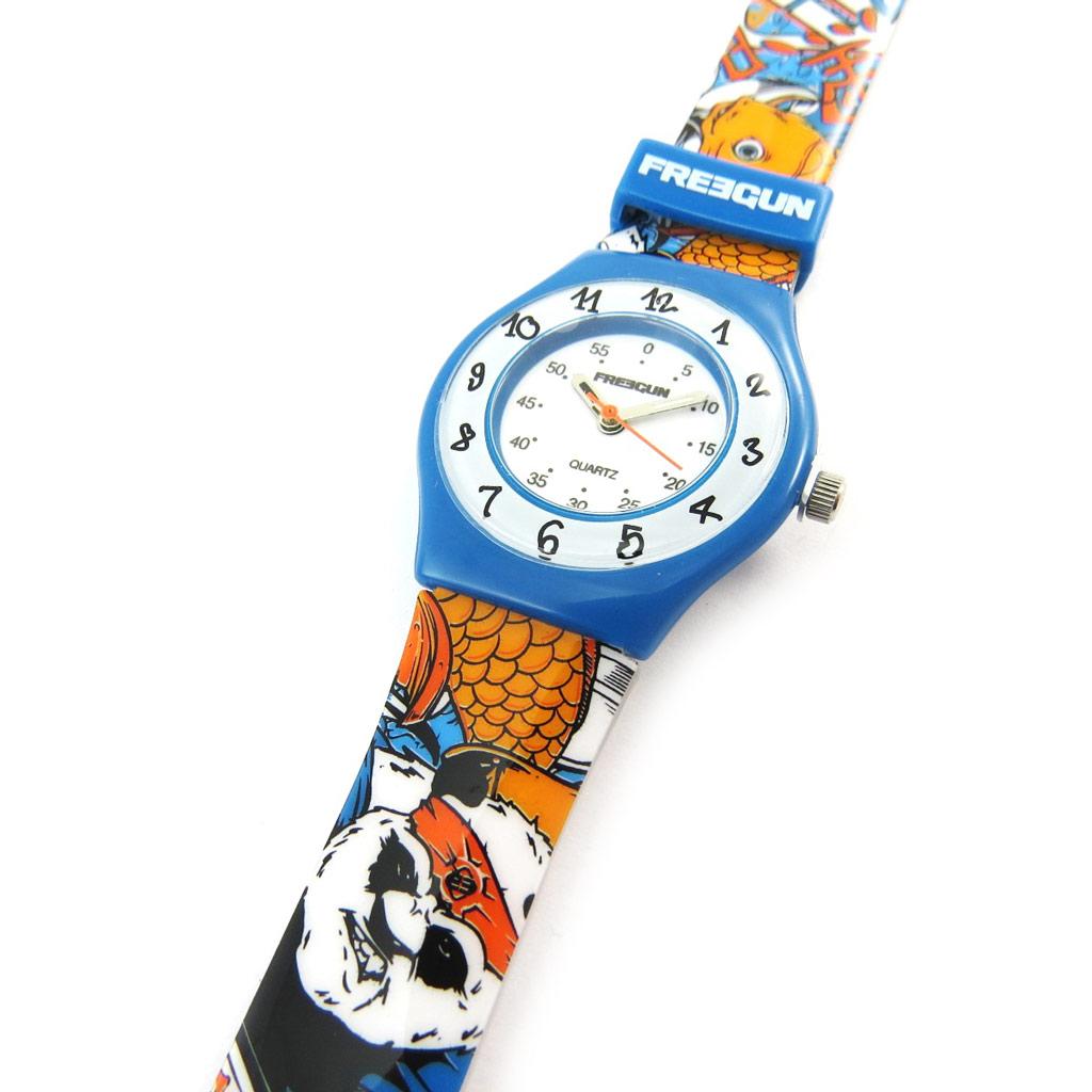 Montre créateur \'Freegun\' bleu orange (ultra plat) - [N3839]