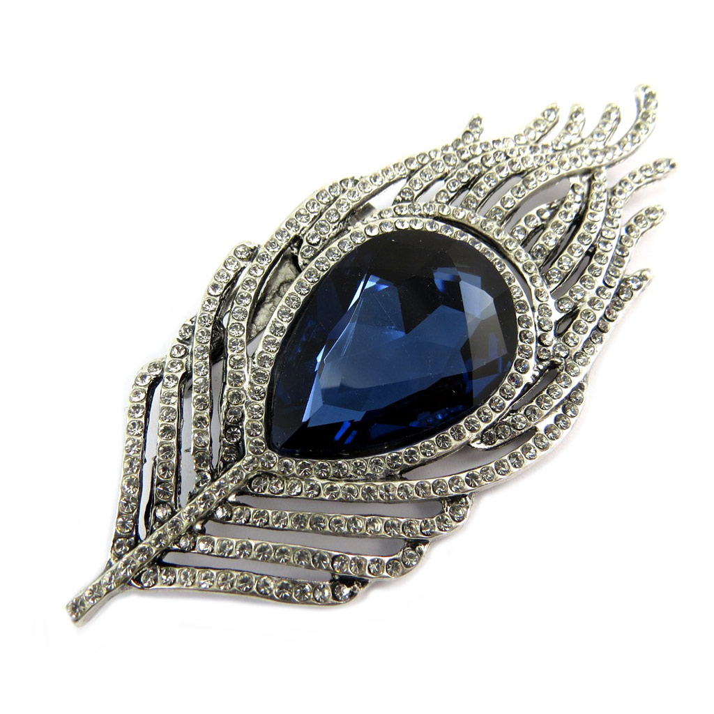 Broche Créateur \'Sissi\' bleu blanc argenté (plume de paon) - 85x35 mm - [P8462]
