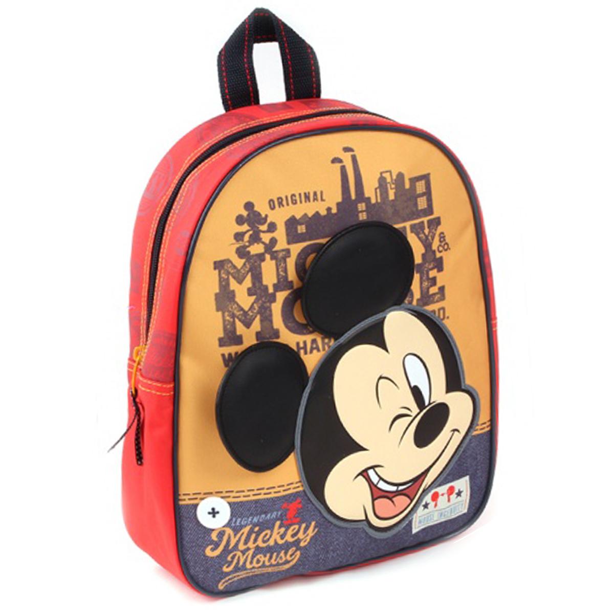 Sac à dos créateur \'Mickey\' orange rouge - 31x25x12 cm - [Q3480]