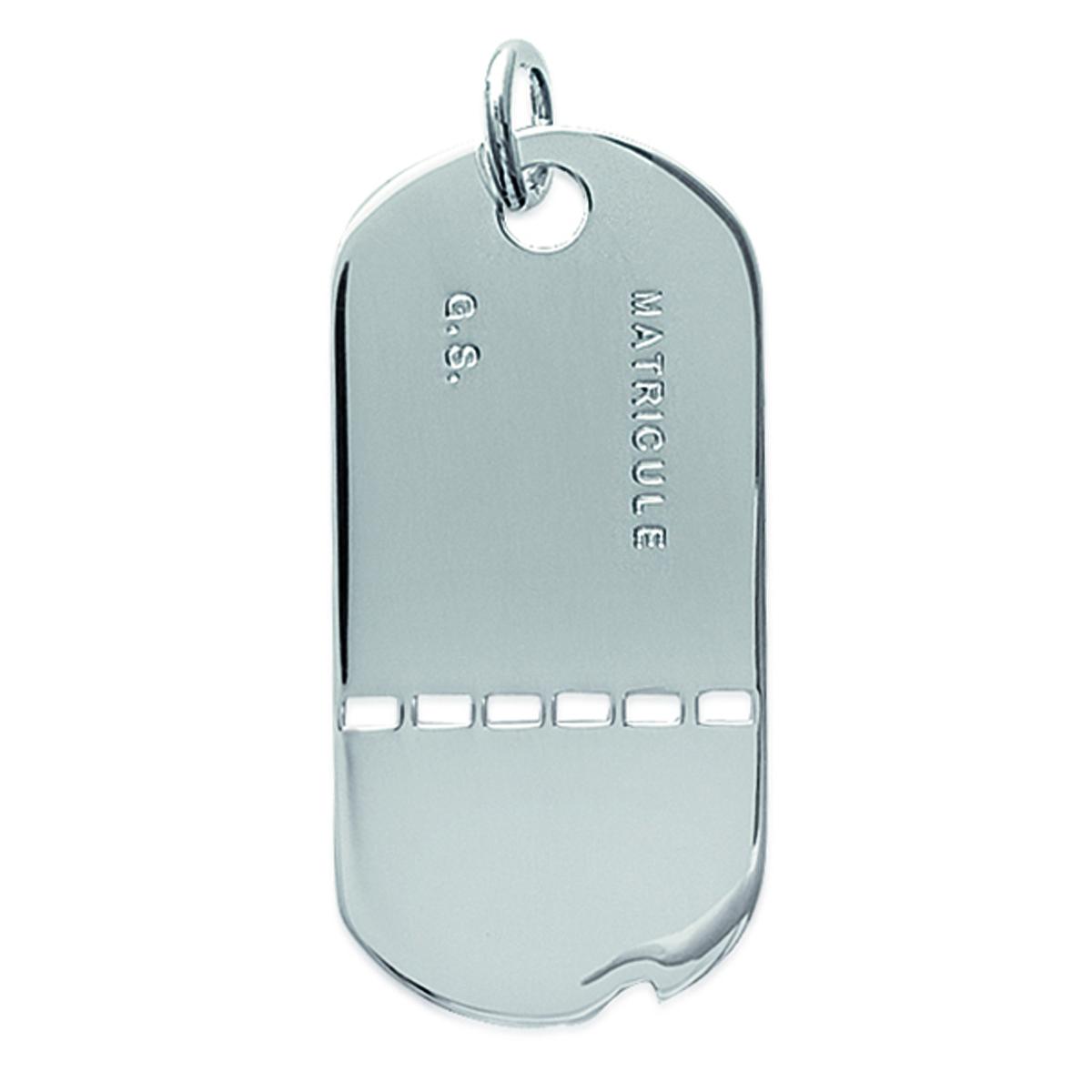 Pendentif Argent \'Médaille Militaire\' argenté - 20x43 mm - [C4421]