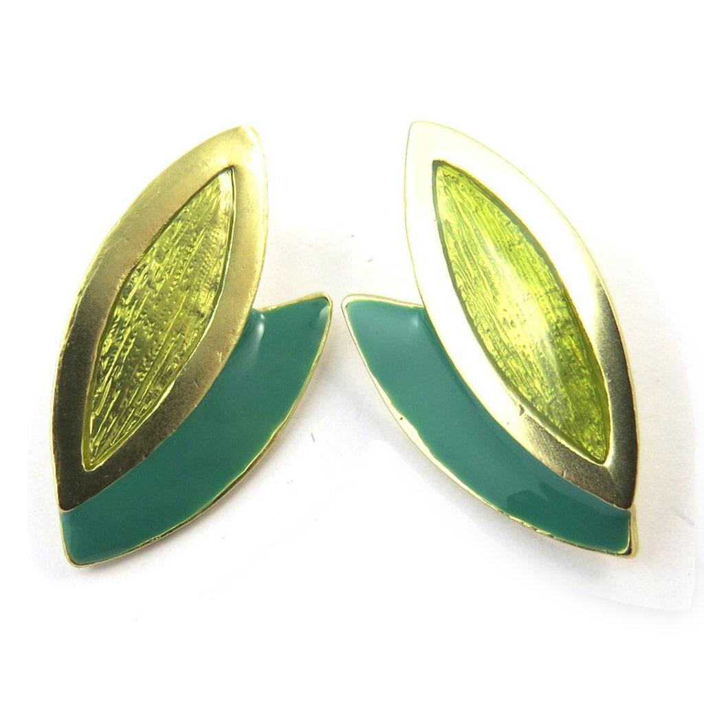 Boucles Créateur \'Vahiné\' vert doré - [N3843]