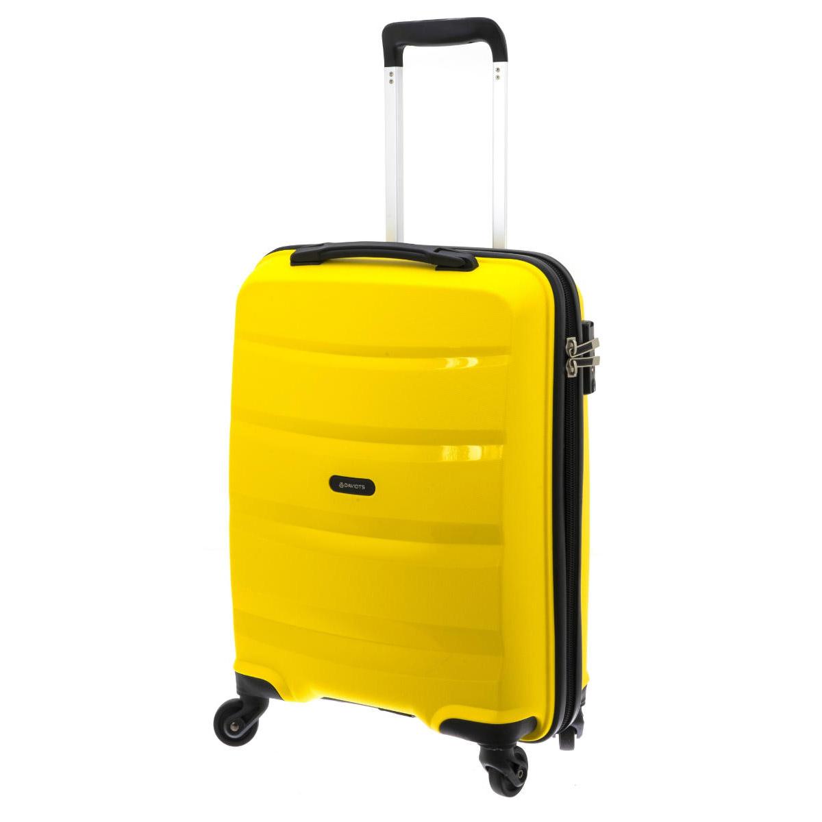 Valise trolley coque polypropylène \'Davidt\'s\' jaune (format cabine) - 55x38x20 cm - [Q3491]