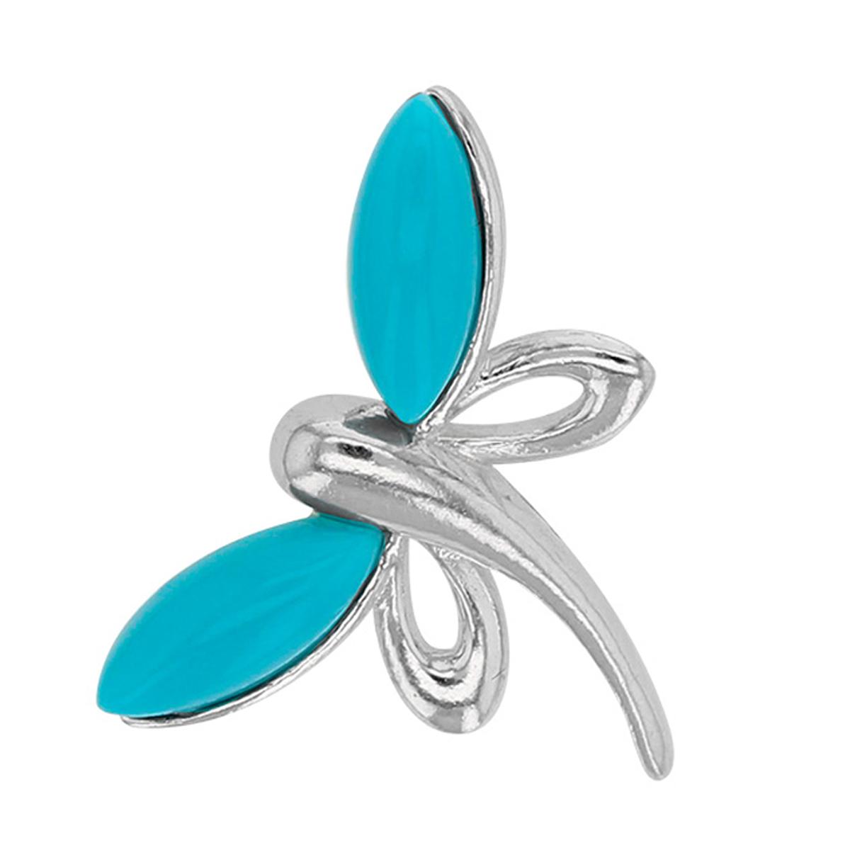 Pendentif Argent \'Libellules\' turquoise argenté (rhodié) - 22x15 mm - [Q0552]