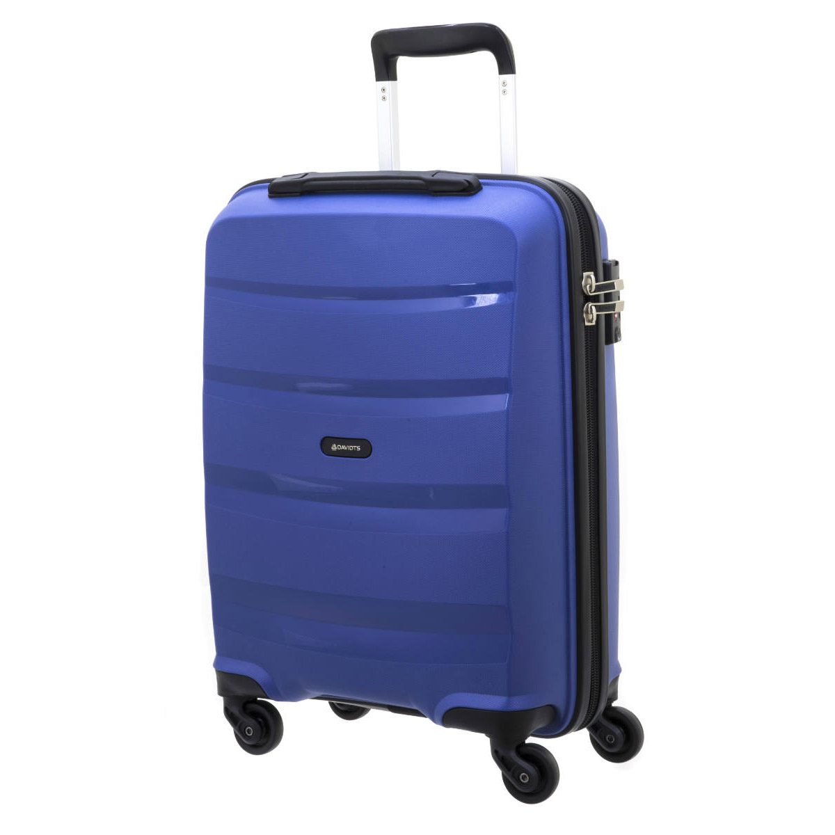 Valise trolley coque polypropylène \'Davidt\'s\' bleu (format cabine) - 55x38x20 cm - [Q3493]