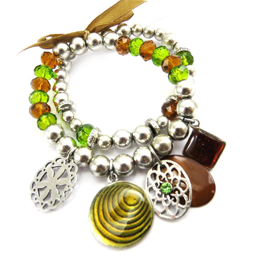 Bracelet Créateur \'Nora\' marron vert - [G6040]