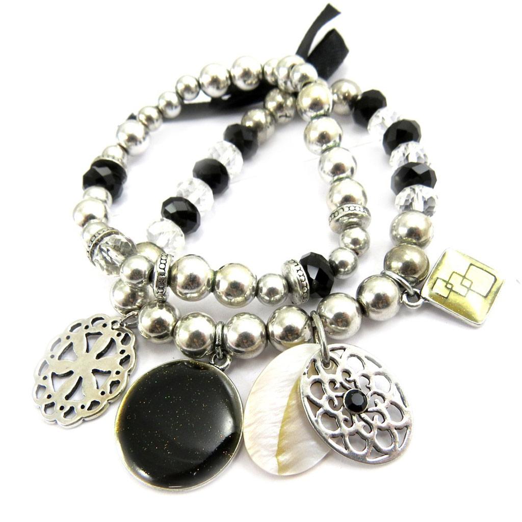 Bracelet Créateur \'Nora\' noir - [G6041]