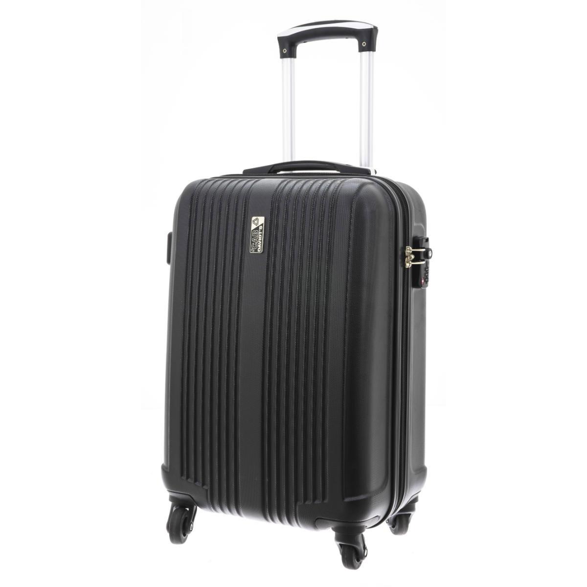Valise trolley coque ABS \'Davidt\'s\' noir (format cabine) - 55x35x20 cm - [Q3504]