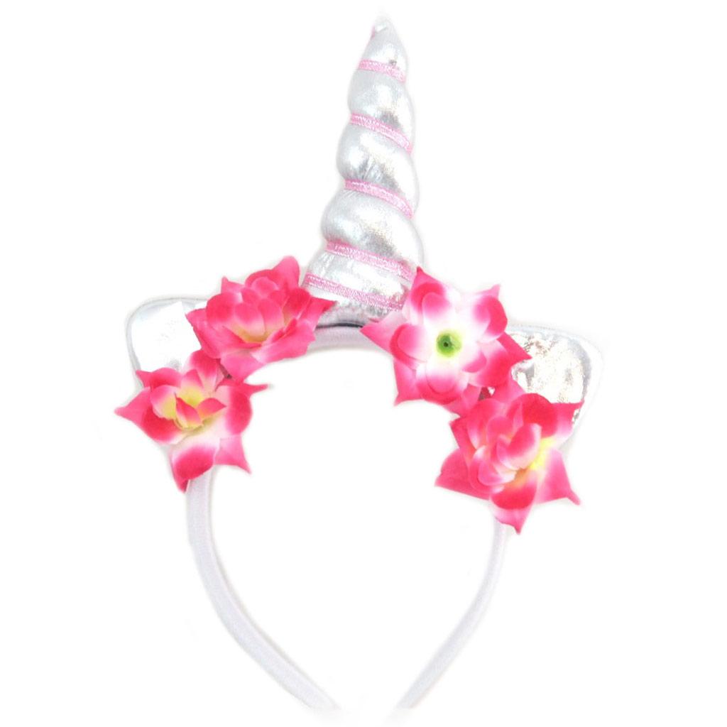 Serre-tête corne \'Licorne My Unicorn\' argenté - 26x175x35 cm - [P8504]