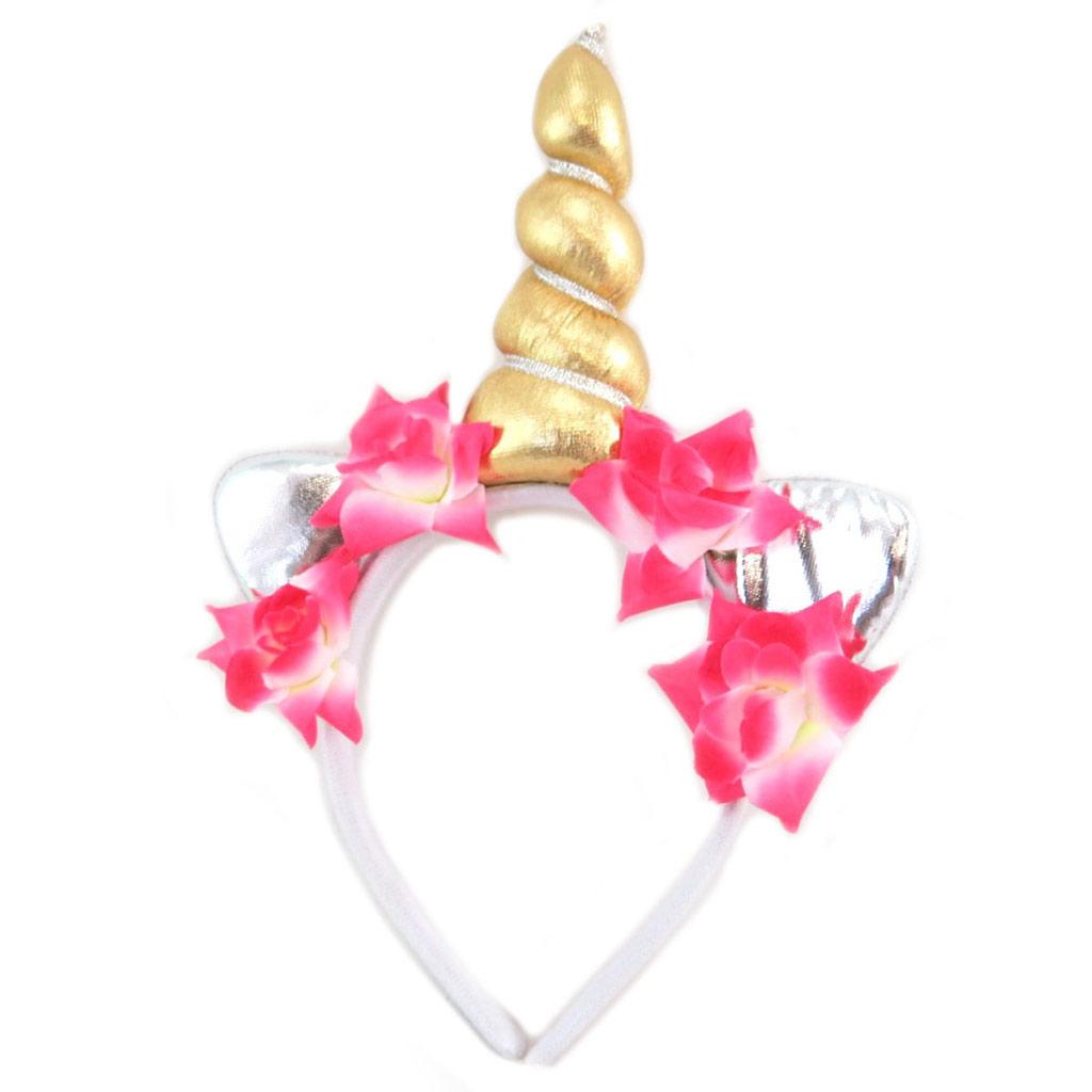 Serre-tête corne \'Licorne My Unicorn\' doré - 26x175x35 cm - [P8506]