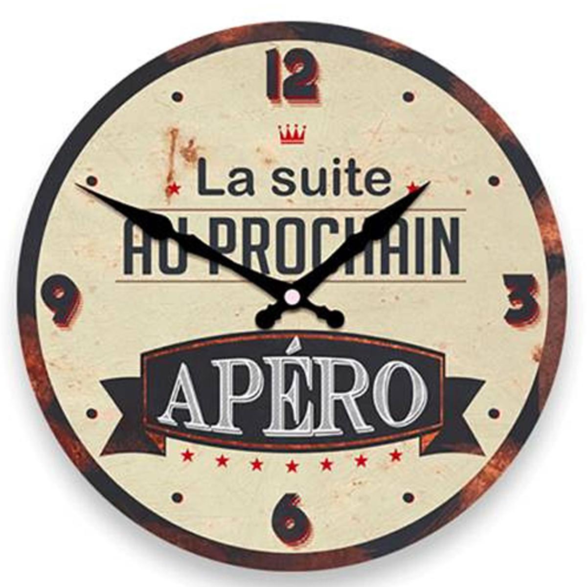 Horloge Murale \'Apéro Vintage\' marron beige (la suite au prochain Apéro) -  28 cm - [P8536]