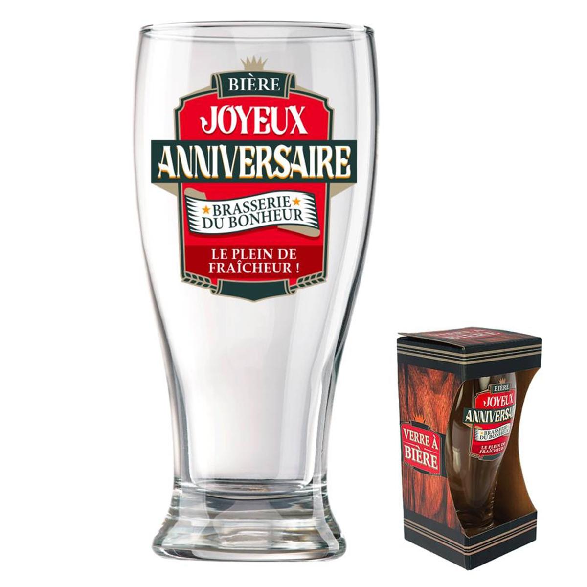 Verre à bière \'Joyeux Anniversaire\' (Brasserie du bonheur - le plein de fraîcheur)  - 18x8 cm - [P8540]