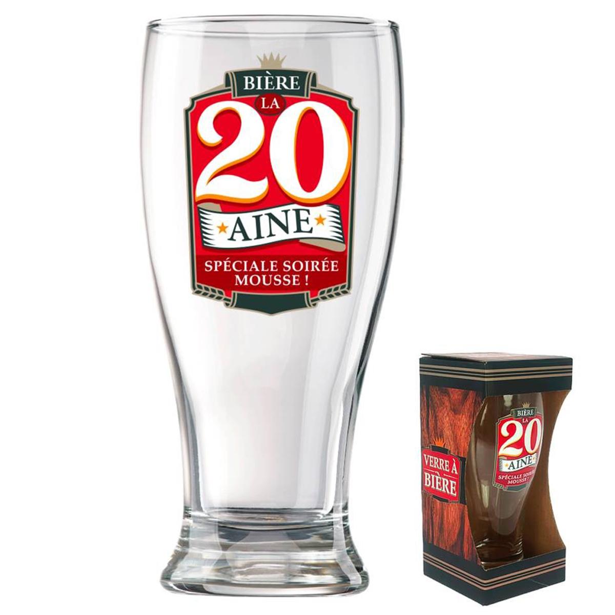 Verre à bière \'20 ans\' (Spéciale soirée mousse)  - 18x8 cm - [P8542]