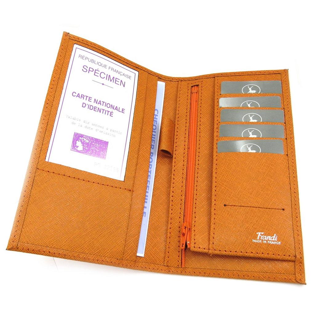 Porte-chéquier Cuir \'Frandi\' orange - [L3427]