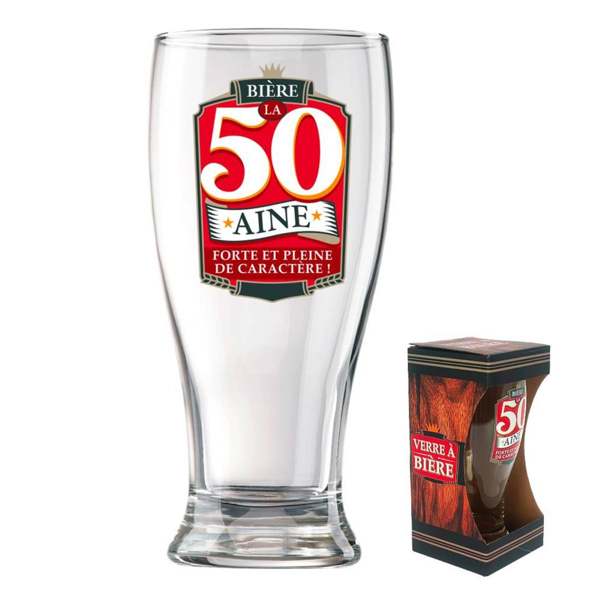 Verre à bière \'50 ans\' (Forte et pleine de caractère !)  - 18x8 cm - [P8545]