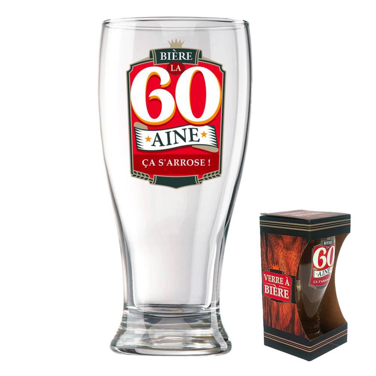Verre à bière \'60 ans\' (ça s\'arrose !)  - 18x8 cm - [P8546]