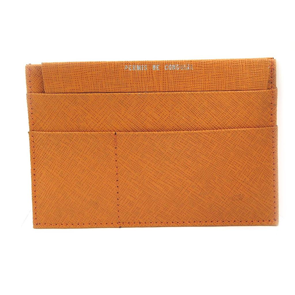 Porte Papiers de voiture Cuir \'Frandi\' orange (ultra plat) - [L3443]