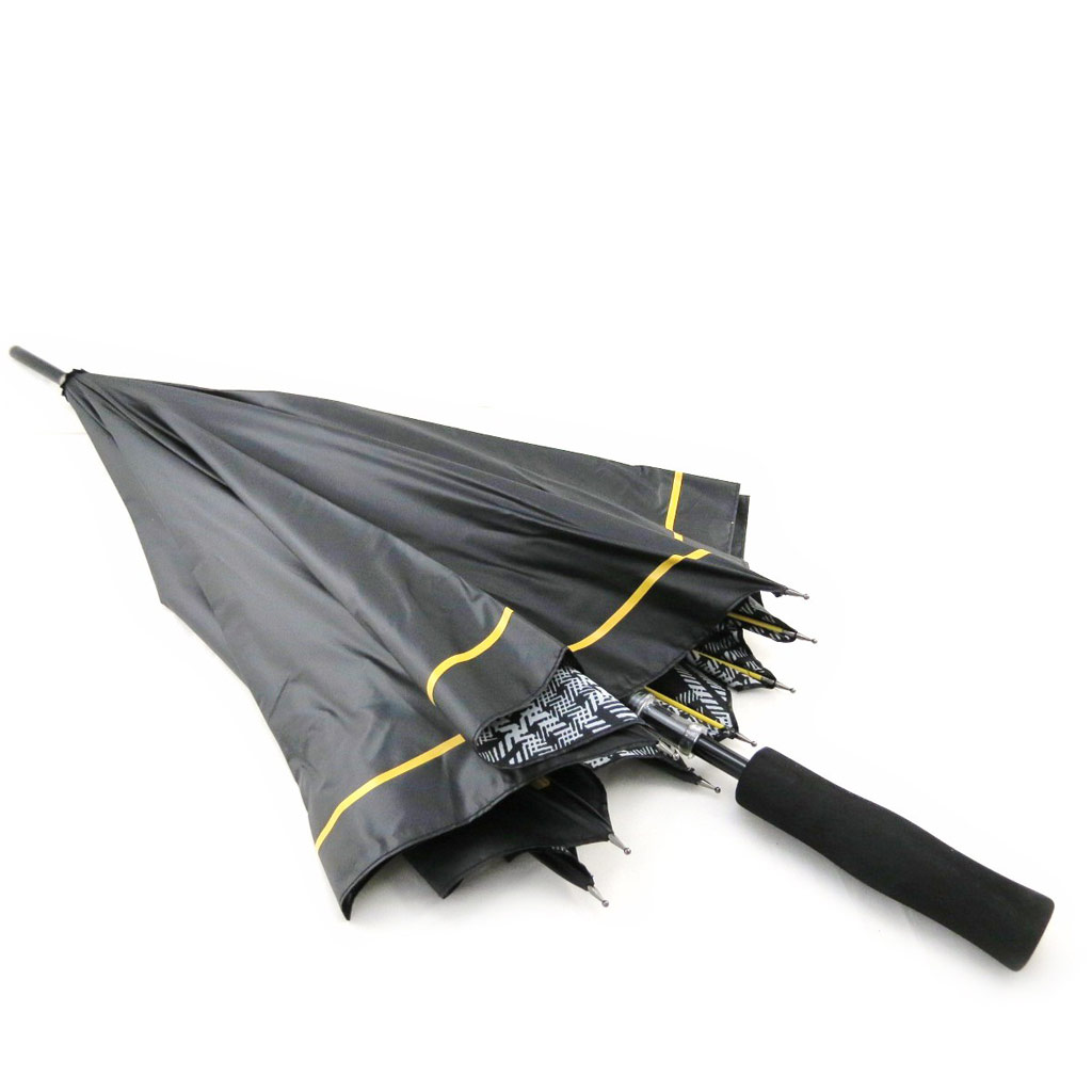 Parapluie Golf \'Daniel Hechter\' noir jaune (effet ciré) - [I8543]