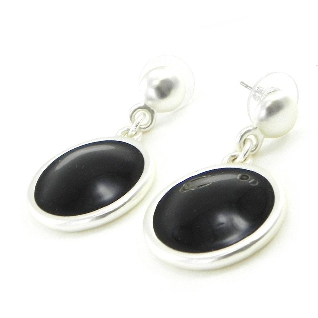 Boucles Créateur \'Movida\' noir argenté - [I8608]