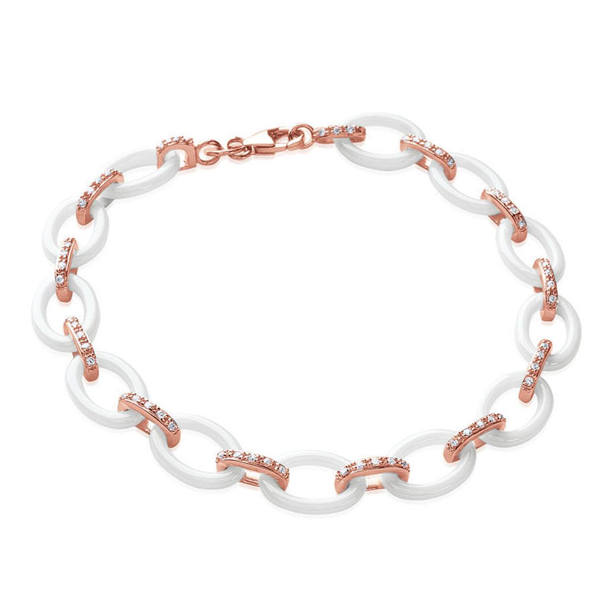 Bracelet Plaqué or \'Sissi\' blanc doré rosé - 18 cm 8 mm - [L6315]
