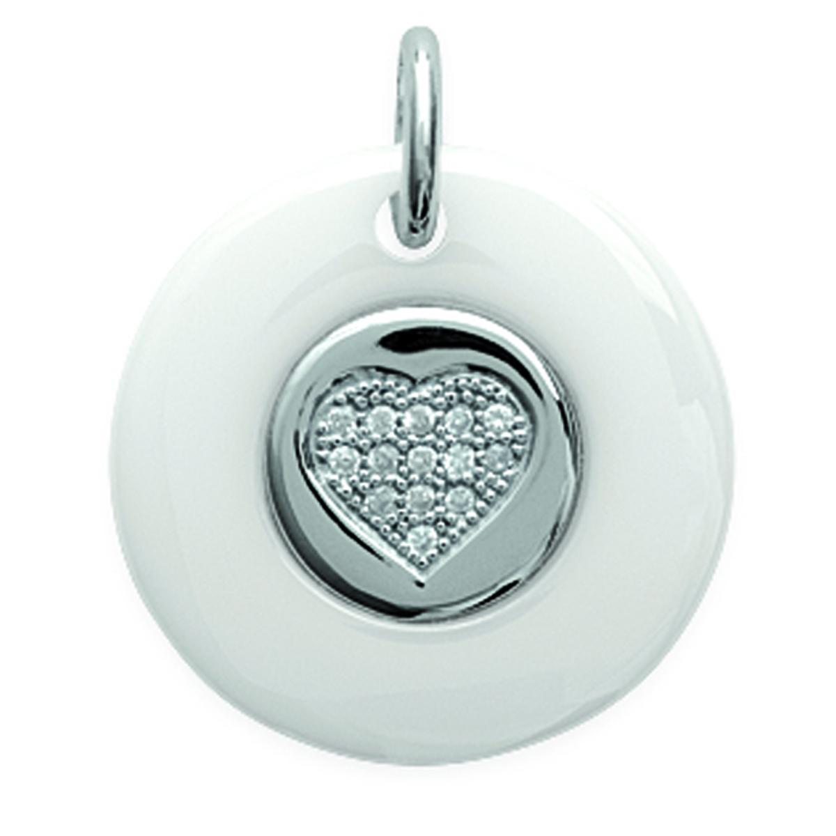 Pendentif Argent \'Love\' blanc (céramique) rhodié - 20 mm - [L6330]