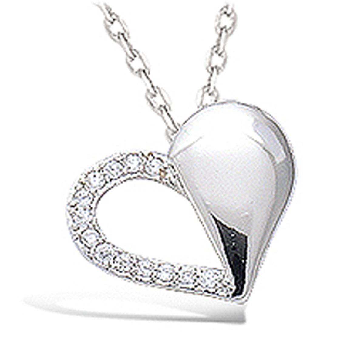 Pendentif Argent \'Love\' blanc argenté (rhodié) - 15x12 mm - [N4029]
