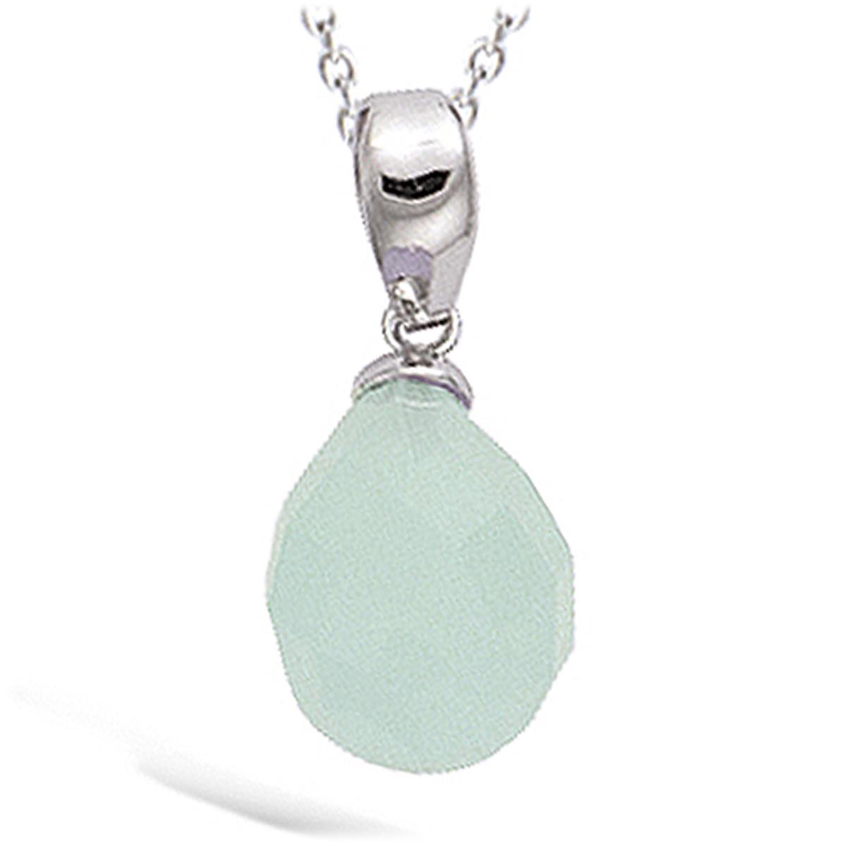 Pendentif Argent \'Linda\' vert pâle argenté (rhodié) - 13x8 mm - [N4032]
