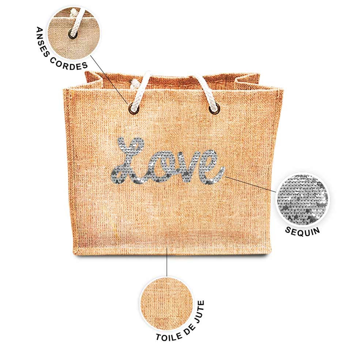 Sac shopping \'Love\' beige blanc (jute) - 42x345x185 cm - [P8787]