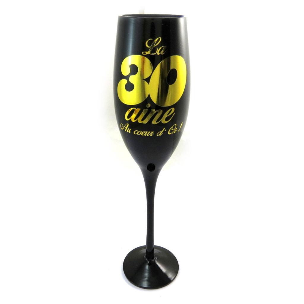 Coupe flute à champagne \'30 ans\' noir doré - [N4104]
