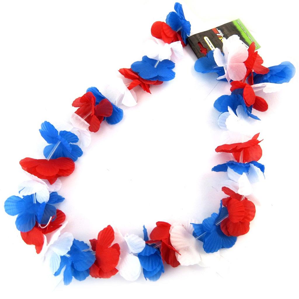 Collier de fleurs \'France Cocorico\' tricolore (supporter) - 50 cm - [N4156]