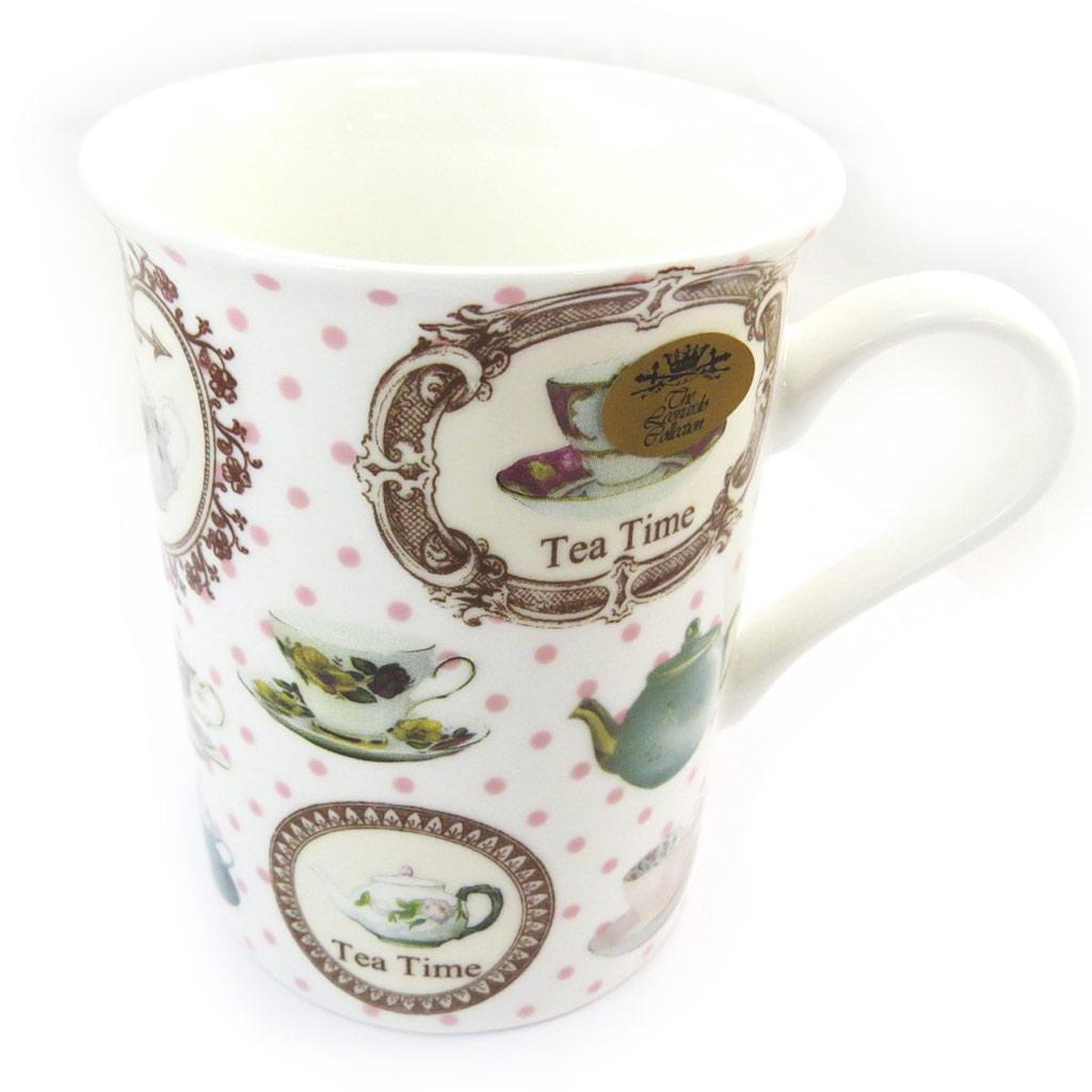 Mug créateur \'Tea Time\' blanc multicolore - [N4276]