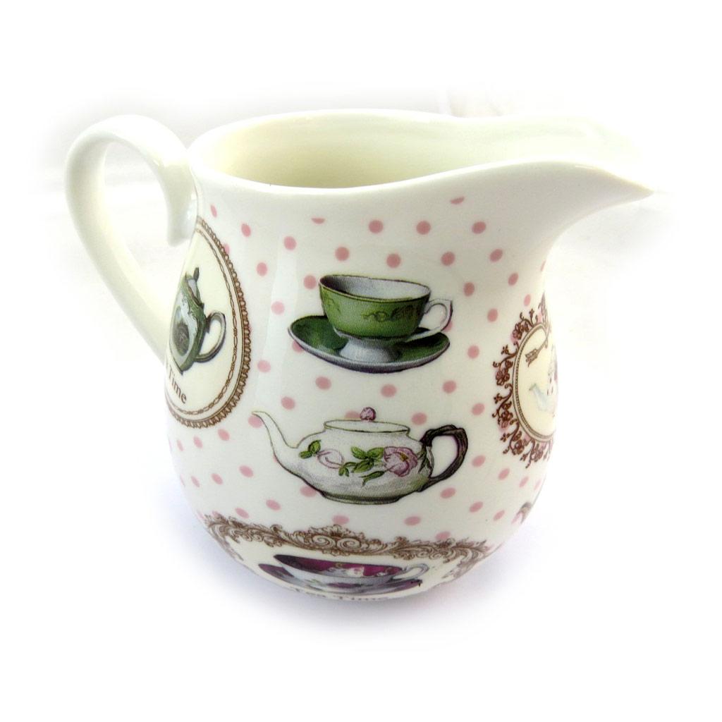 Pot à crème porcelaine \'Tea Time\' blanc multicolore - [N4277]