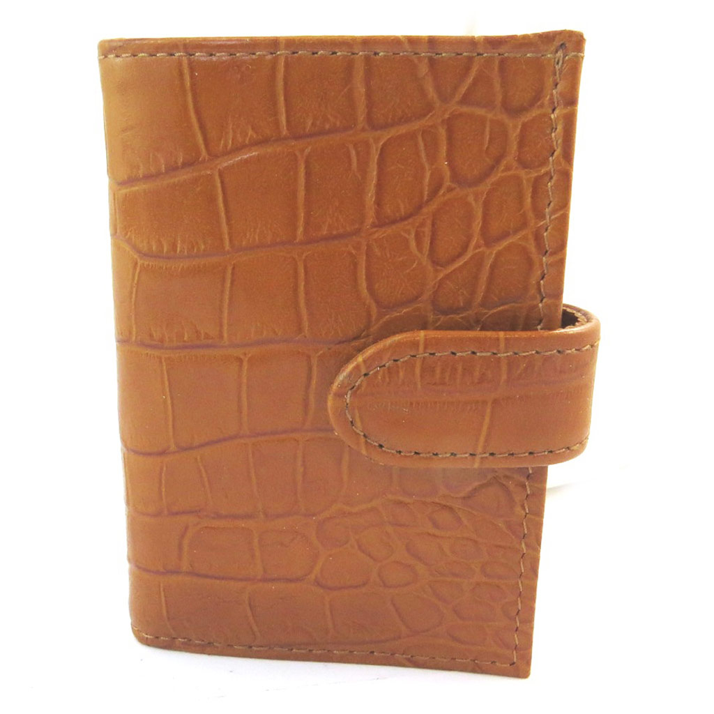 Porte-cartes Cuir \'Frandi\' camel (croco) - [N4357]