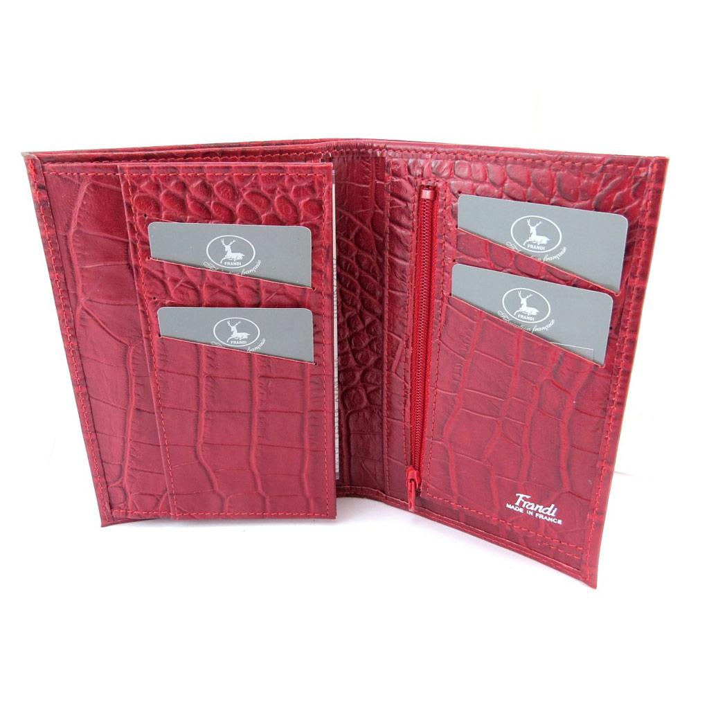 Portefeuille français cuir \'Frandi\' rouge (croco) - [N4373]