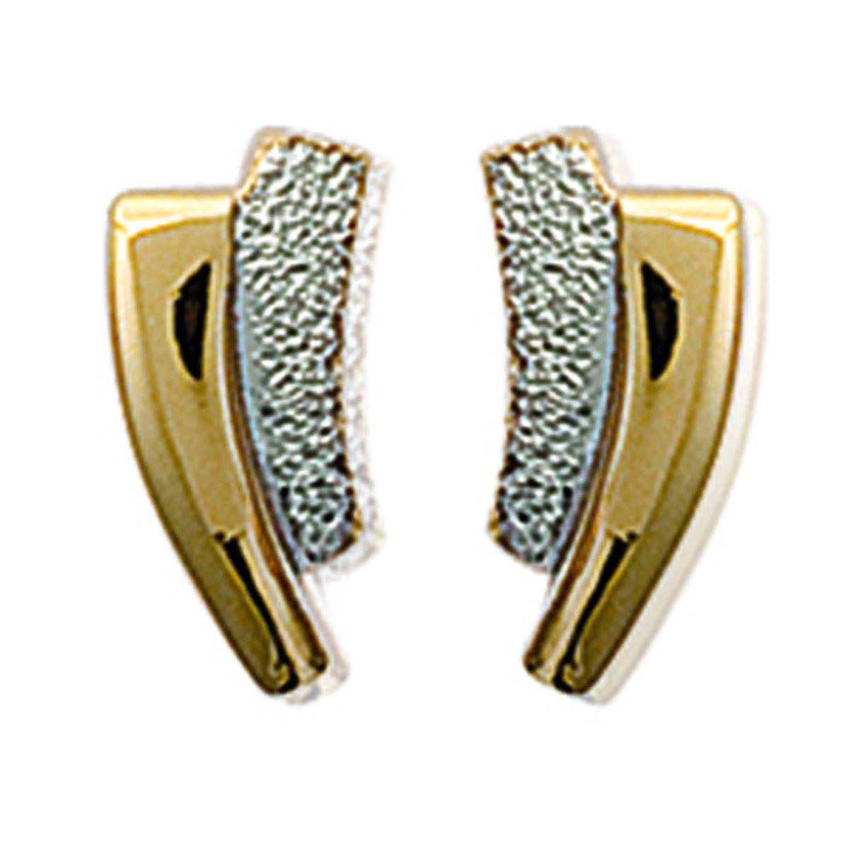 Boucles plaqué or \'Pretty\' doré argenté - 12x5 mm - [C6296]