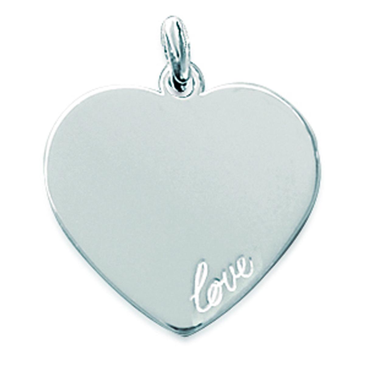 Pendentif Argent \'Love\' argenté - 20 mm - [C7250]