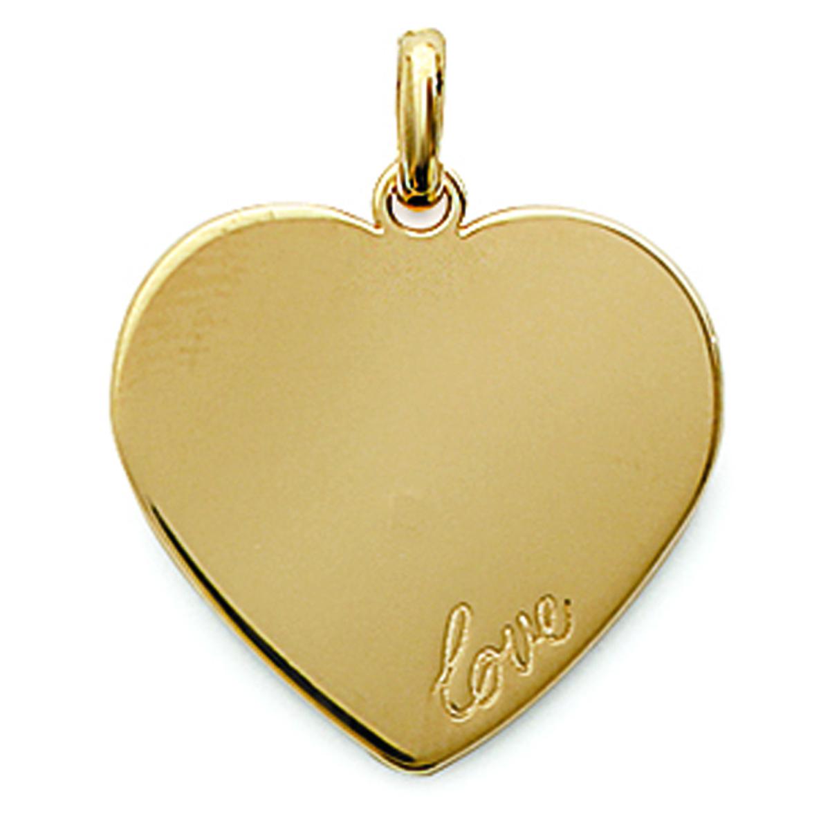Pendentif Plaqué Or \'Love \' doré - 27x31 mm (à Graver) - [C7262]
