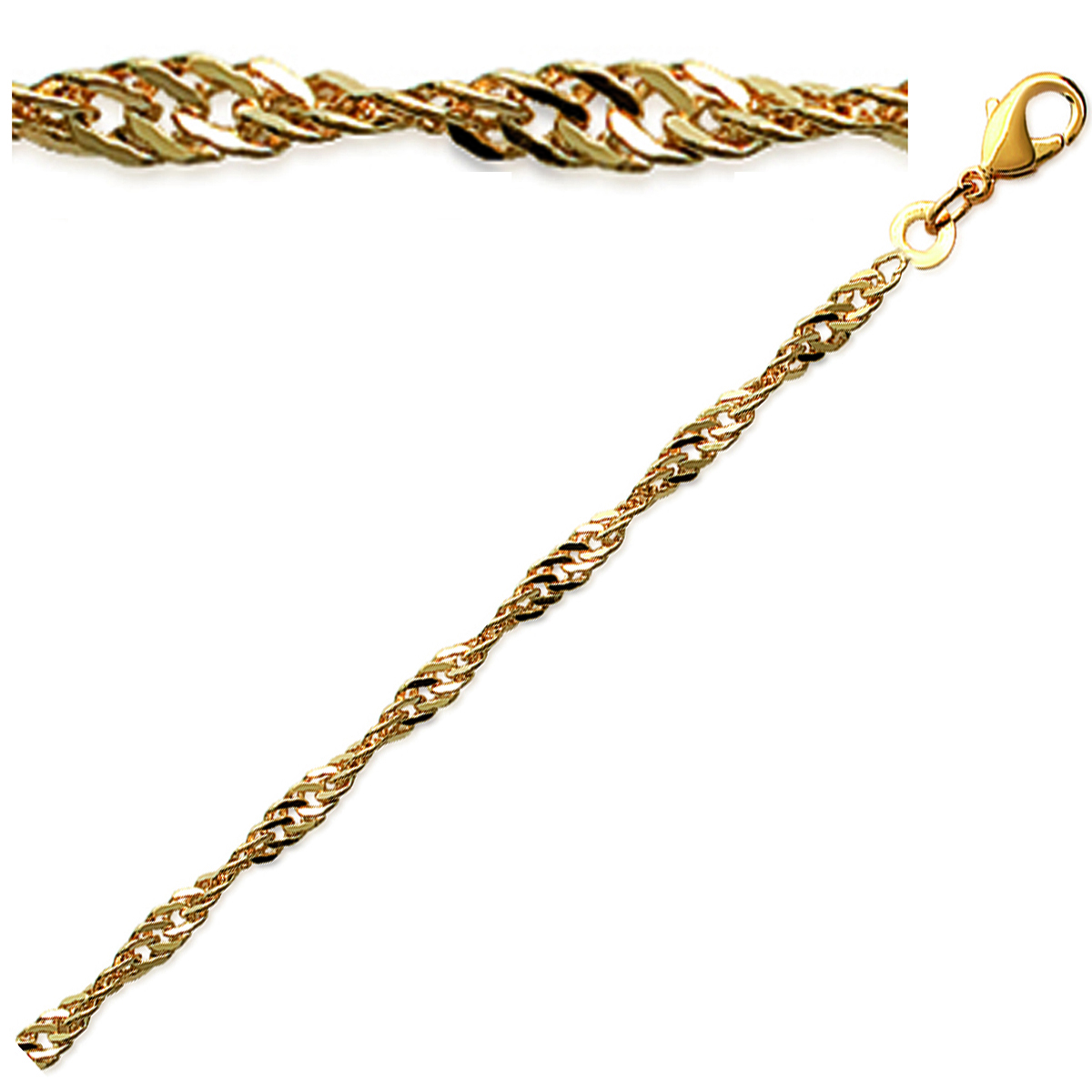 Chaine / Collier Plaqué Or \'Singapour\' doré - 45 cm 3 mm - [C7356]