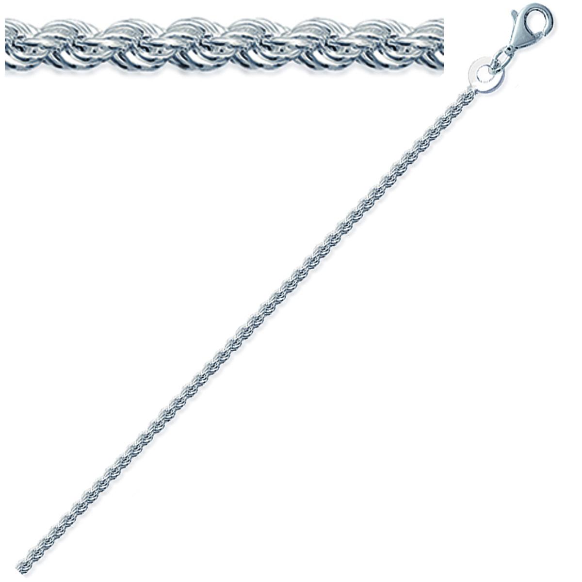 Chaine Argent \'Corde\' argenté - 50 cm 2 mm - [C7430]
