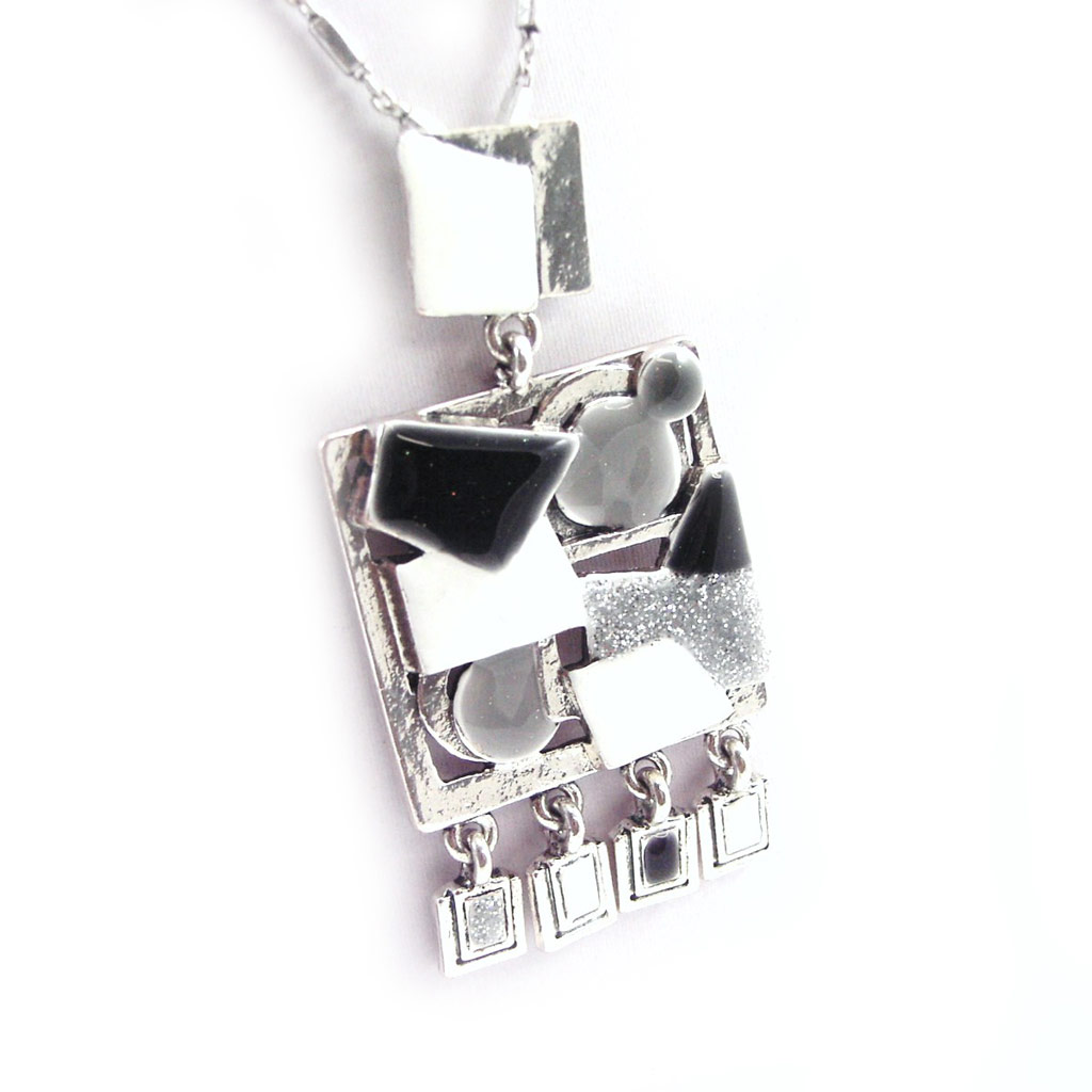 Collier Créateur \'Anamaya\' noir gris - [G6116]