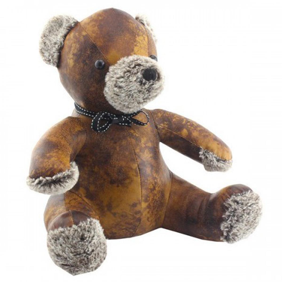 Cale porte façon cuir \'Teddy\' marron - 31x24x22 cm - [Q6482]
