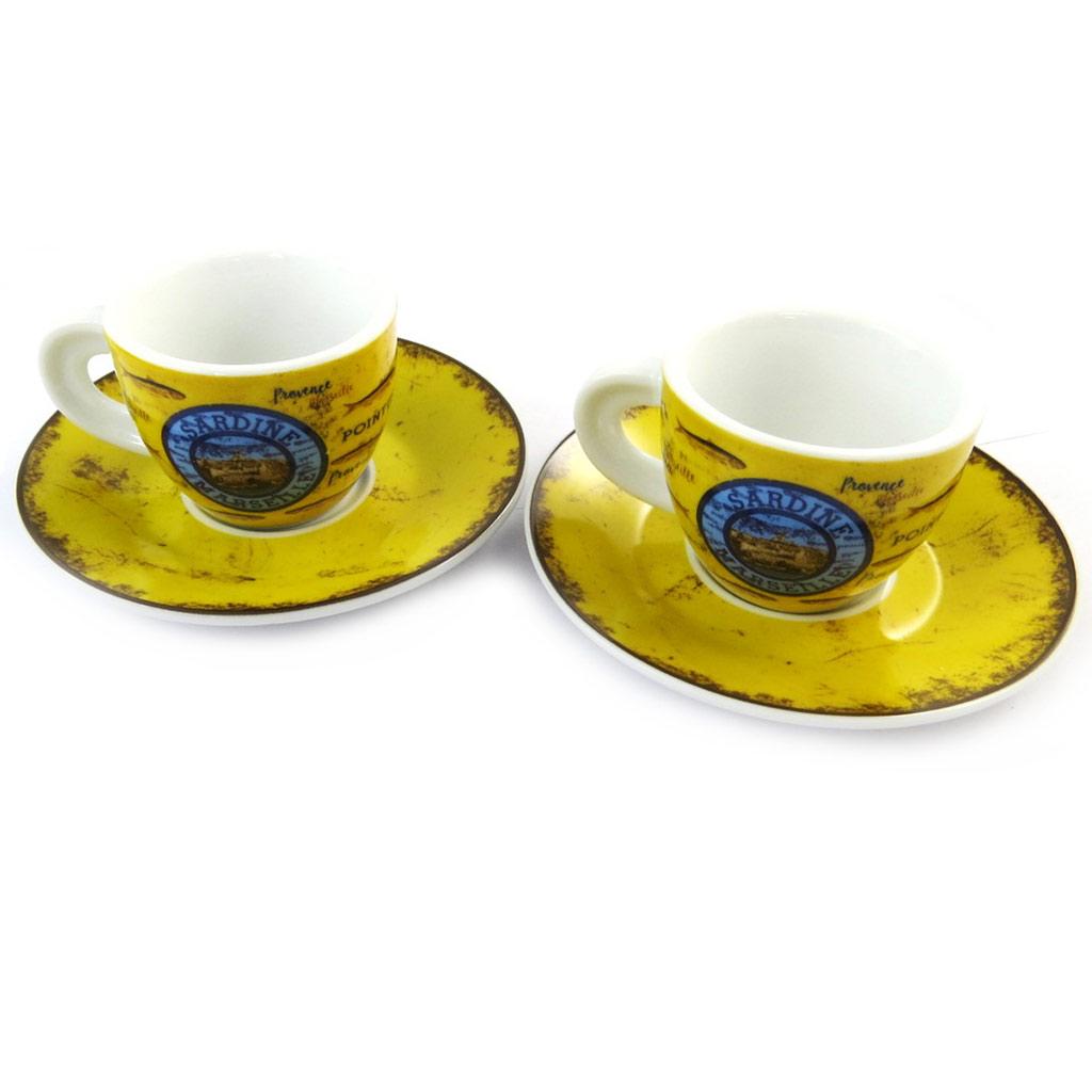Coffret 2 tasses à café \'Sardines de Marseille\' jaune bleu (vintage) - [N5677]
